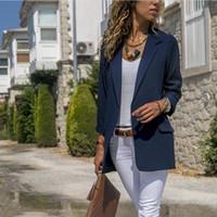 dames longues vestes d'affaires achat en gros de-Mode Automne Femmes Costume Casual Solide À Manches Longues Blazers OL Style Mince Bureau Lady Business Veste Veste Blazer