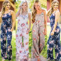 ingrosso modelli di tuta per le donne-tute da donna stampa floreale moda casual da giardino tuta senza maniche pagliaccetti tute lunghe lunghe fantasia floreale