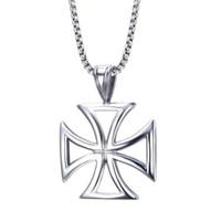 collares moteros al por mayor-Collar para hombre de acero inoxidable Vintage Hollow Knights Templar cruz de hierro colgante collar para hombres Biker maltés Cruz joyería