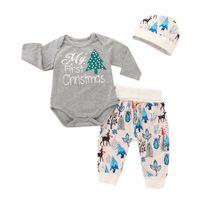 51961be4428e3 Mikrdoo nouveau-né bébé vêtements de noël ensemble ma première lettres de  noël imprimer manches longues barboteuse cerf imprimé pantalon chapeau  bandeau ...
