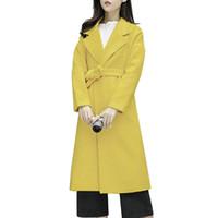 89721a2b6503 gelber revers wollmantel großhandel-2018 Frauen neue Mode Herbst und Winter  Revers Wolle lange beiläufige