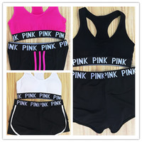 Wholesale girls white suit - new PINK Tracksuit girl Summer Sport Wear Cotton Yoga Suit Fitness Bra Shorts Gym Top Vest Pants Running Underwear Sets Runner Outfits