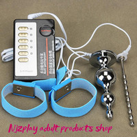 Wholesale electro male chastity device resale online - Chastity Devices For Men Electro Kit Stainless Steel Penis Urethral Sounding Plug male chastity devices Cock Ring Enlargement BDSM Toys