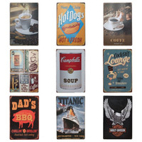 Wholesale food paint - Taste Food Theme Iron Painting For Western Restaurant Hang Decorate Tin Poster Creative Graffiti Style Tins Sign 20*30cm Z