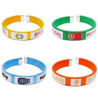 Wholesale increase ring - World Cup Silicone Flags Bracelet Hand Ring wrist strap World Cup Flags countries flag Bracelet Flag Football Increase the atmosphere T1I323
