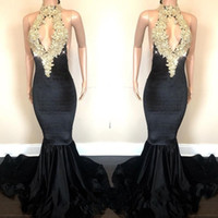 Wholesale Sexy White Sparkle Dress - Sexy Open Back Sparkling Gold Sequins Appliques Prom Dresses Mermaid Halter Neck Keyhole Front Long Evening Gowns BA8429