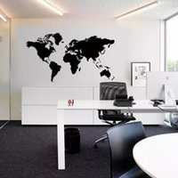 kartengehäuse großhandel-2016 großhandel Schwarz Große Weltkarte Wandaufkleber Abnehmbare Doppelseitige Visuelle Muster Dekoration Haus Tapete kostenloser versand