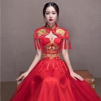 trajes tradicionales chinos de las mujeres al por mayor-Historia de Shanghai vestido de novia chino tradicional Qipao traje nacional vestido de mujer vestido de novia de estilo chino en el extranjero Cheongsam