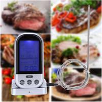 temporizador termómetro digital de carne al por mayor-LCD Wireless Food Cooking Termómetro Barbecue Timer Sonda Digital Termómetro de Carne BARBACOA Medidor de Temperatura Cocina Herramientas de Cocina NB