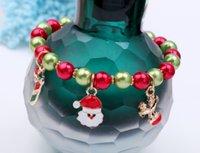 miçangas contas strand venda por atacado-2018 Presente de Ano Novo Santa Rena Dangle Pulseira Strand Beads Charme Dia de Natal Melhores Presentes para As Mulheres Meninas Crianças Presente de Natal D504S