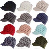 Wholesale beret yellow - 12colors Women Knitted CC ponytail caps Winter Warm Beret Hat Crochet Ski Baseball Beanie Brim Cap lady hats FFA570 16PCS