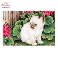 bild karikatur katze großhandel-Goldener Panno, 5D Diy Diamant, der volle quadratische Diamantstickerei, kleine weiße Katze, Malereimosaikbilder von Rhinestones07 malt