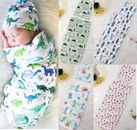 bebek şapkaları çiçekleri toptan satış-INS Yeni bebek uyku tulumu + Şapka Avrupa Amerikan tarzı swaddles karikatür Dinozor Köpekbalığı çiçekler baskılı çocuk uyku tulumu bebek ...