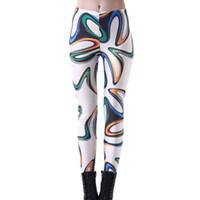 freie malerei muster großhandel-Elastische beiläufige Hosen 3D Digitaldruck drei-Farbenanstrichmuster Frauen-Gamaschen 7 Größen Eignungs-Kleidung geben Verschiffen frei