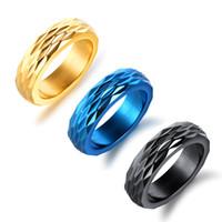 diamante de anel simples venda por atacado-Venda quente dos homens Clássico de Aço Inoxidável Anel de Diamante Plana Anel de Banda de Casamento para Homens Polido Fosco Acabado