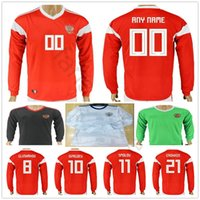 Wholesale russian jersey xxl for sale - Group buy Russia Long Sleeve Soccer Jersey DZAGOEV ARSHAVIN KERZHAKOV KOKORIN KOMBAROV POLOZ AMEDOV Custom Red White Russian Football Shirt