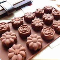 pro blumen großhandel-15-Cavity pro Blatt Blumen-Silikon-Form-Blumen-Rosen-Schokoladen-Kuchen-Seifen-Form-Backen-Dekorations-Eis-Würfel-Behälter-Form