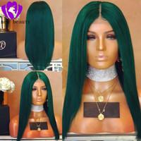 peluca llena diaria de cabello al por mayor-Verde oscuro simulación recta del pelo humano brasileño peluca delantera del cordón lleno Mujeres Maquillaje Regalo del banquete de boda Sintético del frente del cordón pelucas diarias