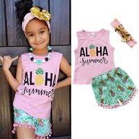 Wholesale tassel short costumes - Kids Girls Summer Clothing Pineapple Outfit Vest+Shorts+headband 3-piece set Baby Tassel Clothes Girls Hawaii Beach Boutique Costume