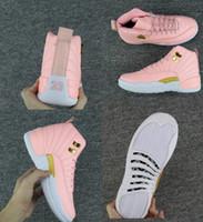 yeni basketbol ayakkabıları erkek toptan satış-Çocuklar Büyük boy ayakkabı yeni Ücretsiz Kargo XII GS Pembe Limonata Basketbol ayakkabı Womens Çocuklar 12 s Pembe Limonata XII Sneakers Boyutu bize 5-8