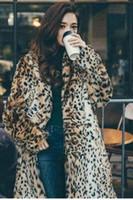 x sexy hot al por mayor-Leopardo nuevo estilo de moda abrigo de piel sintética vacaciones de Navidad sexy club celebridad vintage mujeres sexy venta caliente abrigos de piel al por mayor