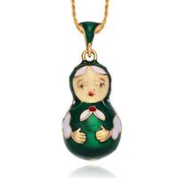russischen schmuck großhandel-Emaille handgemachten Schmuck russischen Stil Matroschka Puppe Anhänger Halskette mit Kristall Geschenk für Frauen Mädchen Liebhaber