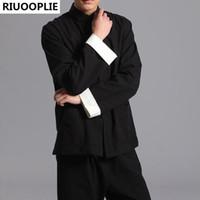 traditionelle lange tops großhandel-RIUOOPLIE Langarm Doppelseitige Traditionelle Chinesische Kleidung Tang Anzug Top Männer Kung Fu