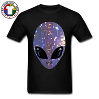 ingrosso grasso uomo-Drak Green Man Top Tee Cheap Manica corta da uomo T-shirt Brand New Autumn Top T-shirt da collo rotondo Alien Face Stampata Tees