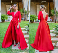 dd95988e54c Wholesale plus size formal jumpsuits online - Sexy Jumpsuit V Neck Evening  Dresses Pants Sleeve Satin