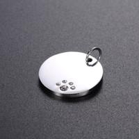etiquetas de nome redondas venda por atacado-20mm de Aço Inoxidável Rodada de Cristal Dog Tags Animais de Estimação ID de Endereço Nome de Telefone Etiqueta Pingente Jóias ZA6044