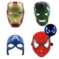 Wholesale luminous masks - Children's Luminous Masks Performing Cartoon Iron Man Mask Role Playing Toy Avengers Luminous Party Masks CCA10119 60pcs