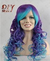 ingrosso parrucca blu viola mix-Spedizione gratuita ++++ Purple Blue Mix New Cosplay 24