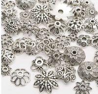 tibet boncukları kapakları toptan satış-130 adet / grup Tibet Gümüş kaplama renk Boncuk Fit Takı Bulguları Yapma Sonu Caps Caps 4-15mm