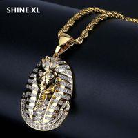 14-karätigem gold ägyptische halskette großhandel-Hip Hop Bling Schmuck Micro Pflastern Zirkon Ägyptischen Pharaos Anhänger Halskette Klassische Alte Ornamente Halsketten Für Mann