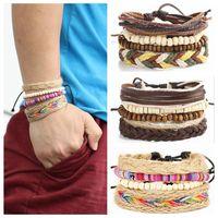 gewebte lederarmbänder perlen großhandel-Mehrschichtige Weave Rope Cuff Braclete Beads Lederarmband Bohemian Style Wristband Beads Chain Wrap Weaved Bracelets OOA4488