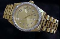diamond bezel mens lüks saat toptan satış-Sıcak Satış Lüks Saatler Kol 18 k Sarı Altın Elmas Dial Bezel 18038 Izle Otomatik Erkek erkek Izle Saatler