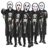 şeytan kadın cosplay toptan satış-Çocuklar Kafatası Iskelet Hayalet Giysi + Kafatası Şeytan Maskesi Eldiven Cosplay Kostüm Erkekler Kadınlar Çocuk Cadılar Bayramı Karnaval Masquerade