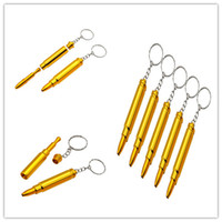 Wholesale metal key chain pipe - 71mm Mini gold bullet Smoking Pipes with key chain small Creative metal Cigarette Holder Portable tabacco herb Pipe wholesale USA