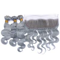 insan saçı örgü grisi toptan satış-Kulak Frontal Kapatma ve Gri İnsan Saç Paketler Vücut Dalga Dalgalı Renk Gri Tam Dantel Cepheler ile Malezya Virgin Saç Örgüleri