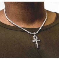 Wholesale men silver cuban link chain - Mens Bling Iced Out Egyptian Ankh Key Pendant Necklace Gold Plated Hip Hop Black Crystal Cuban Link Chain Men Jewelry Accessories 5.5mm 24in