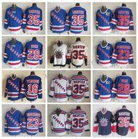 Wholesale green ranger spandex - New York Rangers Man 35 Mike Richter Jersey Throwback 28 Tie Domi 23 Jeff Beukeboom 18 Walt Tkaczuk Vintage Classic Hockey Jerseys Blue
