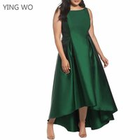 Wholesale Plus Size Ballgowns - Green Fashion Woman Plus Size Sleeveless High Low Party Ballgown Big Ladies New Spring Summer Style Ankle-length Dresses 2XL-4XL