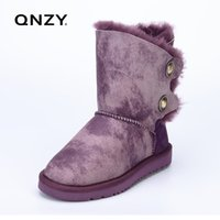 Wholesale snow boots sheep - QNZY natural sheep skin wool one snow boots female with winter flat bottomed buckle Keep warm Calf high boots, free shipping