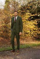 Wholesale Men S Marriage Suits - Latest Coat Pant Designs Green Tweed Suit Men Formal Prom Slim Fit Blazer Gentle Dinner Marriage Custom 3 Piece Tuxedo Terno se8
