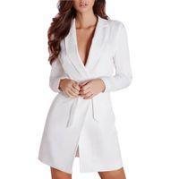 Wholesale Womens Work Suits - Hot Sale Long Sleeve Suit jacket Womens Blazer For Work White Blazer Ladies Slim Belted Deep V Neck Suit