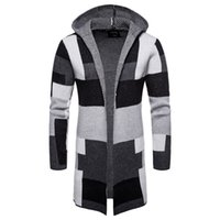f3d44e66557ab Loldeal Mens Casual Open Front Long Color Block Sweater Cardigan Hooded Knit  Coat