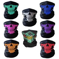 Wholesale used cosplay for sale - Bicycle Ski Skull Half Face Mask Ghost Scarf Multi Use Neck Warmer COD Halloween gift cycling outdoor cosplay accessories