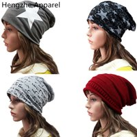 bbda09bf99b Five - pointed star fashion girls boys hats spring autumn winter cotton  double thin head caps solid color men women beanies