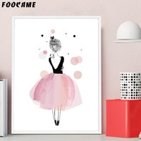 Wholesale abstract skirt for sale - Group buy FOOCAME Cartoon Girls Pink Skirt Dancing Wing Posters and Prints Art Canvas Painting Home Wall Pictures for Girl Room Decoration