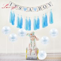 ingrosso torte di ragazzi-decorazione per la doccia Its A Girl Girl Foto Booth Cake Topper Pompon Decorazione di compleanno per il bambino Prima festa di compleanno fai da te